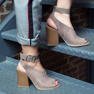 Shoes - 2X HP! Taupe Stacked Heel Ankle Strap Bootie